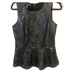 Inc faux leather perforated peplum Top M